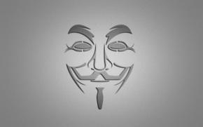v - Vendetta, v for vendetta, mask, smile, minimalism, gray background,