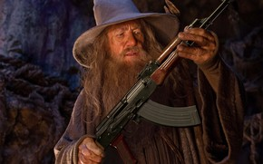 gandalf, Gandalf, gray, automatic, kalashnikov, ak, hat, humor, Lord of the Rings, the lord of the rings.jpg