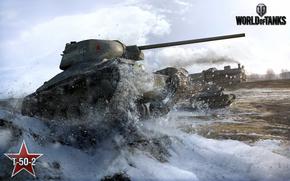 wot, world of tanks, wargaming.net, танки, танк, СССР, лт, т-50-2, снег,