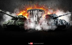 wot, world of tanks, wargaming.net, танки, танк, ИС-3, КТ, огонь, взрывы, противостояние, СССР, Германия, germany, pzkpfw vib tiger ii, tiger ii,