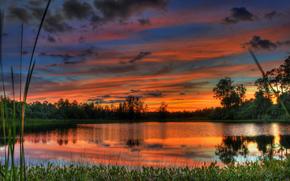 natura, cielo, nuvole, tramonto, acqua, paesaggio, lago, alberi
