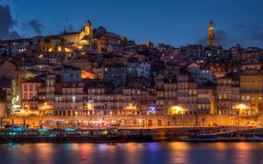 portugal, porto, vila nova de gaia, Португалия, Порто, Вила-Нова-де-Гайя, город, вечер, дома, здания, берег, побережье, река, лодки