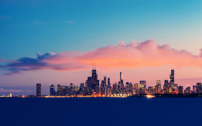 США, Иллинойс, Чикаго, озеро Мичиган, выдержка, вечер, закат, небо, облака