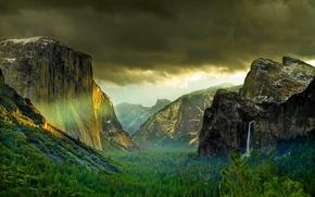 Montagne, nuvole, foresta, cascata, Yosemite National Park, America