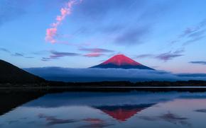 Japn, Fuji, tarde, montaa, cielo, las nubes, lago, reflexin