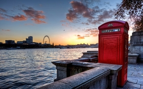 london, england, sunset, telephone, thames, river