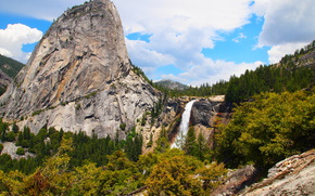 Mountains, forest, waterfall, nature, yosemite national park