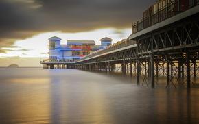 Inghilterra, weston-super-mare, mare, ponte