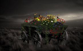 Blumen, Wagen, Stil, Hintergrund