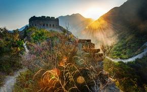 Пейзаж, Китай, Великая Китайская стена, Трава, Лучи света