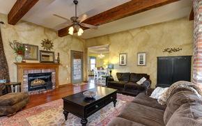 interior, sofa, fireplace, living room, room, chandelier, ceiling