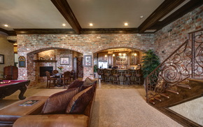 interior, pillows, ceiling, living room, design