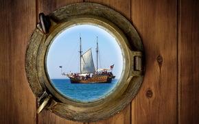 karabl, sailing ship, porthole