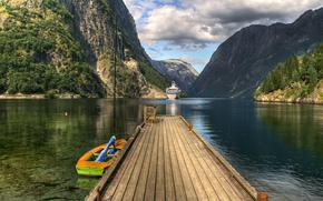 Норвегия, Лофотен, горы, вода, мостик, лодка, корабль