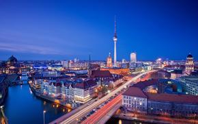sera, citt, Berlino, fiume, ponti, strada, semaforo