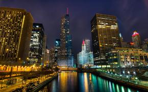 cityfront center, illinois, chicago, usa, Иллинойс, Чикаго, США, город, ночь, мост, река, небоскребы, высотки, здания, освещение, свет, огни, небо
