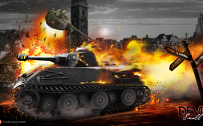 vk 2801, world of tanks, wot, explosion, fire, fire, explosion, tolstopard, devil