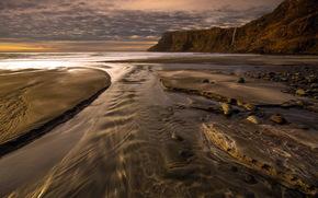 mar, costa, puesta del sol, paisaje
