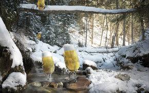 Creatividad, cerveza, piedras, publicidad, gafas, arroyo, nieve