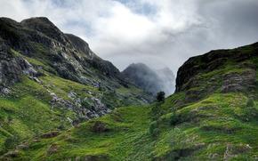 Scozia, burrone, Montagne, pietre, altezza, cielo