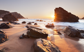 sea, coast, Sunrise, stones