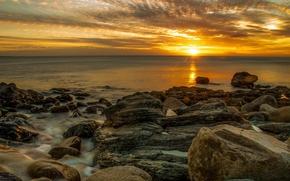 mare, pietre, tramonto