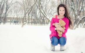 girl, bear, toy, childhood, Winter, teddy bear