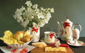 tea, cheese, Flowers