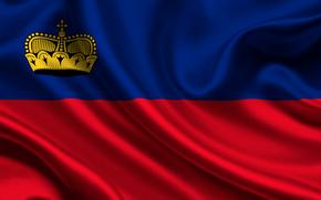 Liechtenstein, satyna, flaga, flaga, satyna