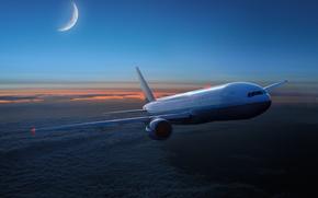 самолёт, полёт, облака, месяц