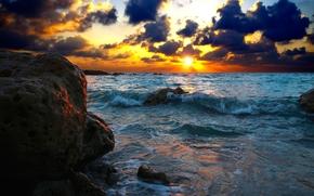sea, stones, sunset