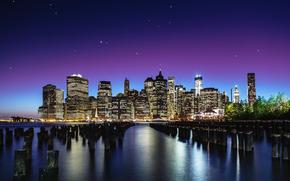 город, new york, небо, звезды