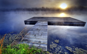 lake, bridge, fog, sunset, landscape