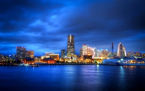 japan, yokohama, kanagawa prefecture, Japan, Yokohama, Kanagawa, city, night, Ferris Wheel, Skyscrapers, lights, bay