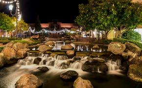USA, stones, pond, blackhawk, California, night, of