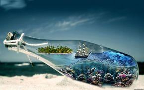 mar, cu, garrafa, navio, areia, fundo do oceano
