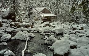 зима, речка, лес, камни, водяная мельница