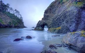 sea, rocks, arch, landscape