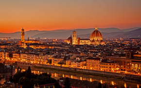 italy, firenze, florence, la cattedrale di santa maria del fiore, Italy, Florence, Tuscany, Santa Maria del Fiore, Cathedral, city, evening, sunset, view, panorama, lights, architecture, home, building, bridge