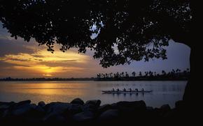 каноэ, лодка, команда, река, плавание, закат, деревья, берег