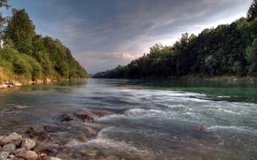 river, course, sky, forest, stones, landscape
