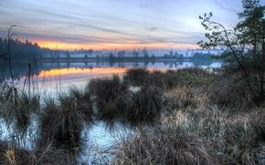 sunset, river, fog, reflection, landscape