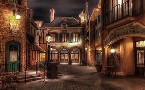 Stati Uniti d'America, Disneyland, casa, notte, strada, urbano