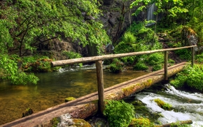 река, водопад, лес, мостик, пейзаж
