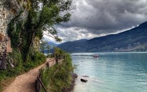 fiume, Montagne, obloka, traccia, barca, paesaggio