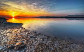 река, закат, берег, пейзаж