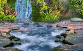 3d, waterfall, nature, landscape