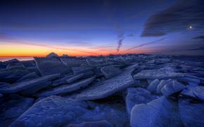 Sweden, Winter, lake, ice, ice, evening, orange, sunset, blue, sky, clouds, moon