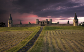 USA, castle, fortress, field, evening, pink, sunset, sky, clouds