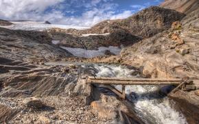 Mountains, river, course, bridge, landscape